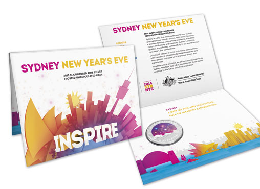 Packaging of the 2015 $1 Coloured Fine Silver Frosted Uncirculated Sydney New Years Eve 2014 - 'Inspire' Coin Image: Royal Australian Mint
