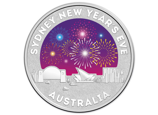 Reverse side of the 2015 $1 Coloured Fine Silver Frosted Uncirculated Sydney New Year's Eve 2014 - 'Inspire' Coin Image: Royal Australian Mint