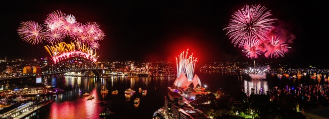 Sydney New Year's Eve 2014 - 'Inspire' - Midnight Fireworks Photograph: Karl Bayer - First Light Photography