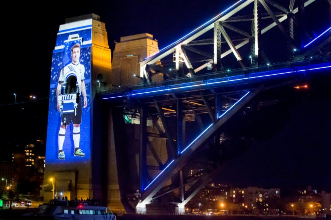 'Sydney Welcomes Tottenham Hotspur' Christian Eriksen Projection Photograph: Destination NSW