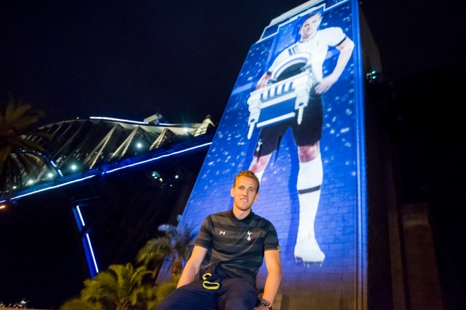 Harry Kane In Front Of 'Sydney Welcomes Tottenham Hotspur' Harry Kane Projection Photograph: Destination NSW