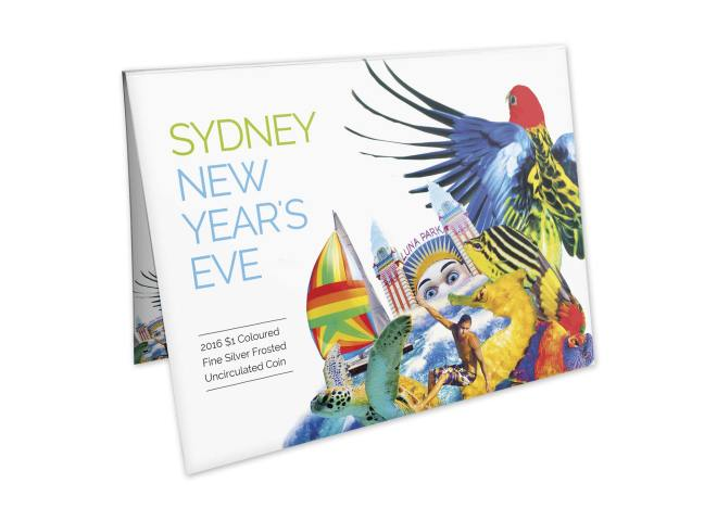 Packaging Front Of The 2016 $1 Coloured Fine Silver Frosted Uncirculated Sydney New Year's Eve 2015 - 'City Of Colour' Coin. Image: Royal Australian Mint.