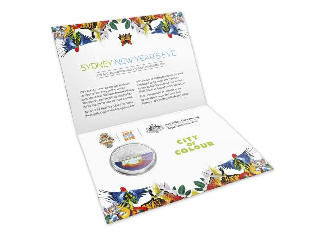 Packaging Open Of The 2016 $1 Coloured Fine Silver Frosted Uncirculated Sydney New Year's Eve 2015 - 'City Of Colour' Coin. Image: Royal Australian Mint.