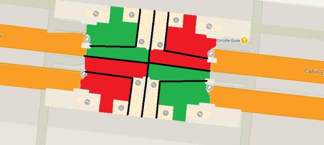 A potential access strategy for Circular Quay Railway Station. Black: Fences Green: Entrance Red: Exit Note: The larger spaces are there to allow people requiring assistance to access the lifts easier.