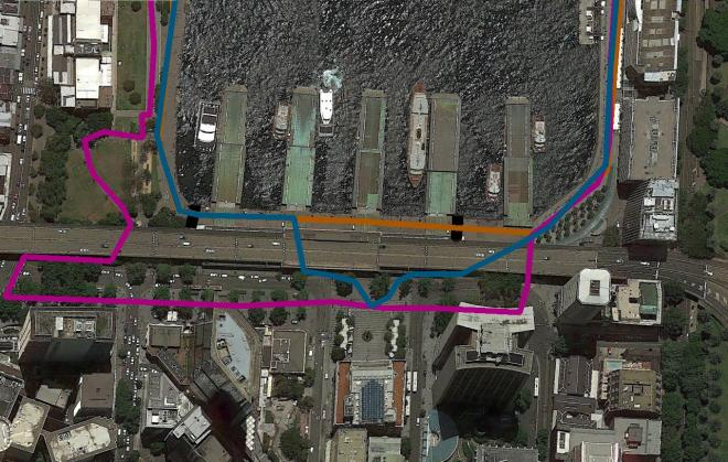 Pink: The Official 2016 'Vivid Light Walk'. Blue: Instinct route if you going to Customs House. Orange: Instinct route if you wish to bypass Customs House. Black: Barricade Locations