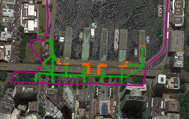 A proposed access strategy. Pink: 'Vivid Light Walk' Directional Signage. Green: Circular Quay Transport Interchange Directional Signage Orange: Circular Quay Transport Interchange Opal Card/Ticket Barriers