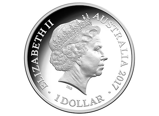 Obverse Side Of The 2017 $1 Coloured Fine Silver Frosted Uncirculated Sydney New Year's Eve 2016 Coin. Image: Royal Australian Mint.