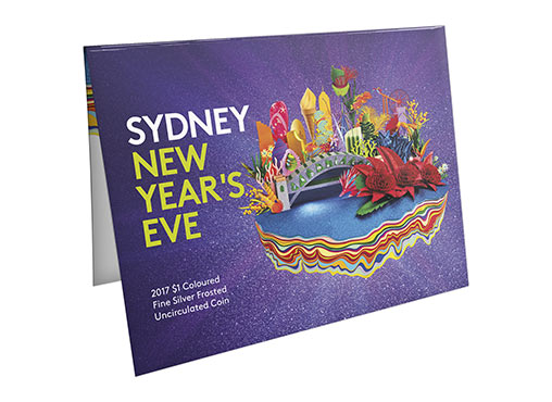 Packaging Front Of The 2017 $1 Coloured Fine Silver Frosted Uncirculated Sydney New Year's Eve 2016 Coin. Image: Royal Australian Mint.