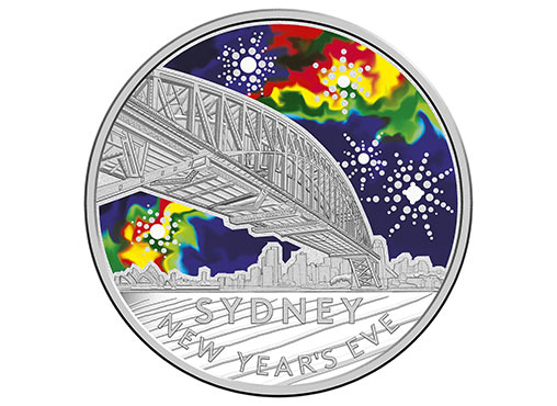 Reverse Side Of The 2017 $1 Coloured Fine Silver Frosted Uncirculated Sydney New Year's Eve 2016 Coin. Image: Royal Australian Mint.