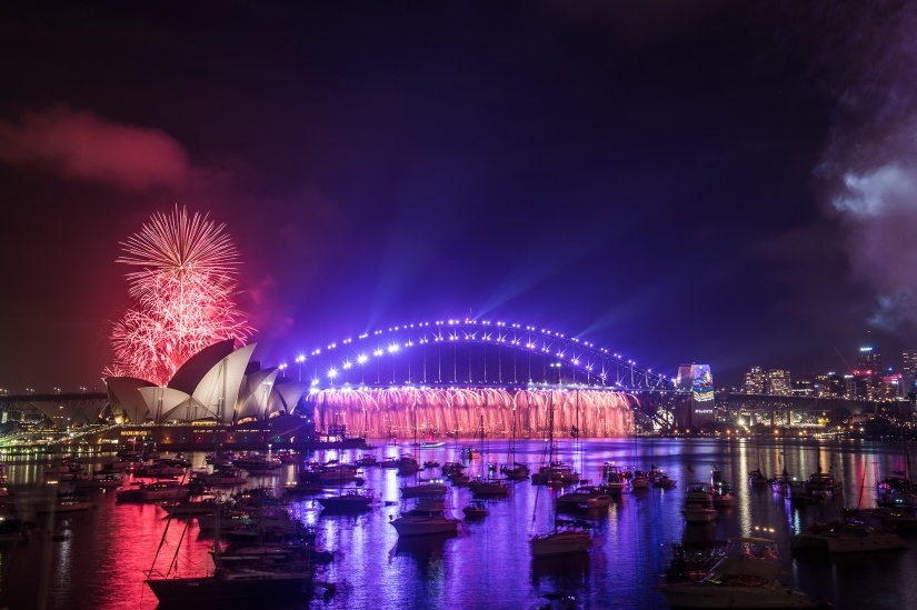 Purple Rains Over Sydney Harbour On New Year's Eve