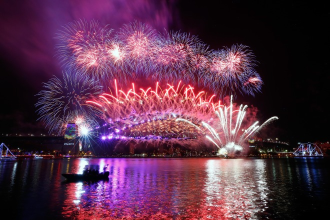 The Midnight Fireworks on New Year's Eve on Sydney Harbour on January 1, 2017 in Sydney, Australia. Photograph: City Of Sydney