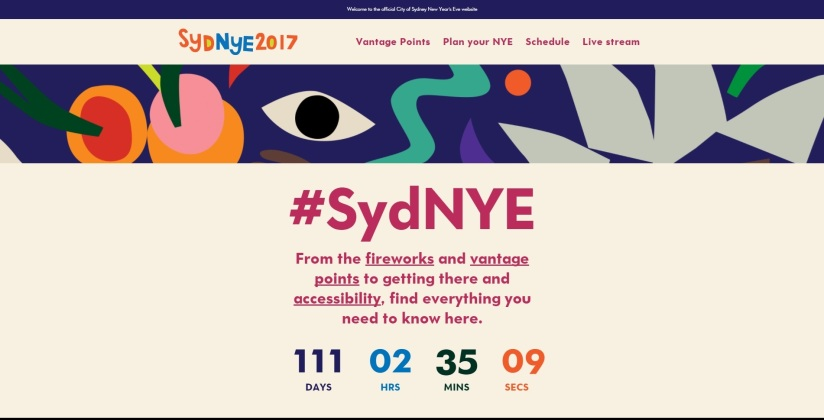 Colourful Sydney NYE2017 Website Revealed