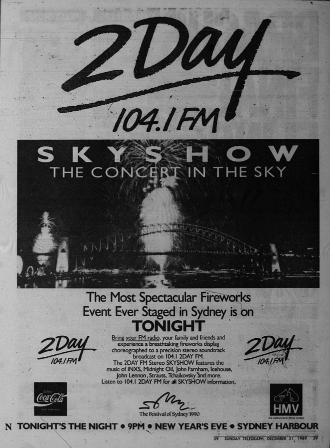 Stereo Skyshow 1989 Newspaper - 'The Concert In The Sky' Advertisement